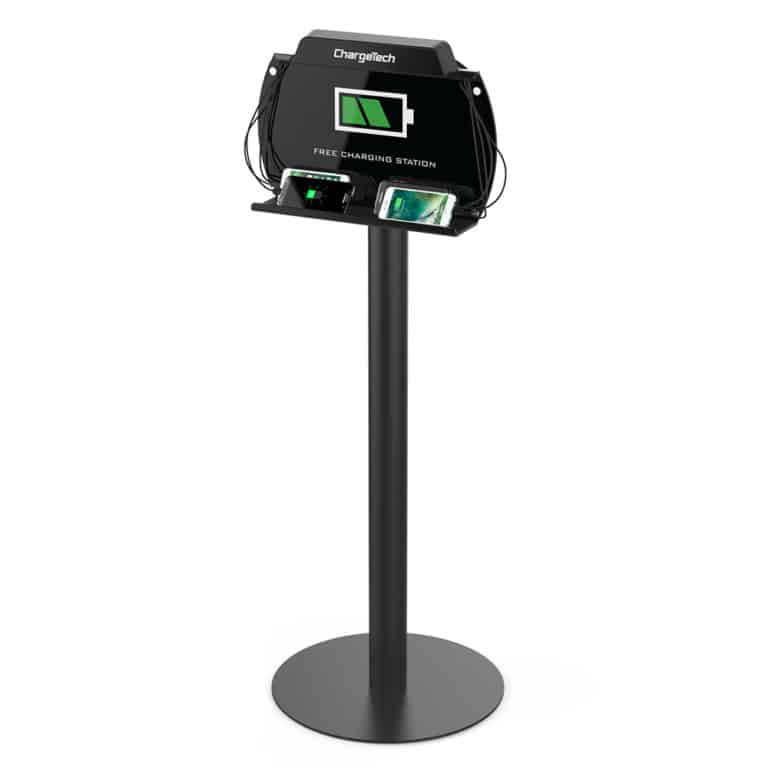 Cell phone charging kiosk for trade shows, events and convenio